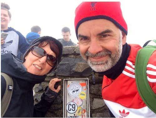Martin & Gill at the summit of Yr Wyddfa