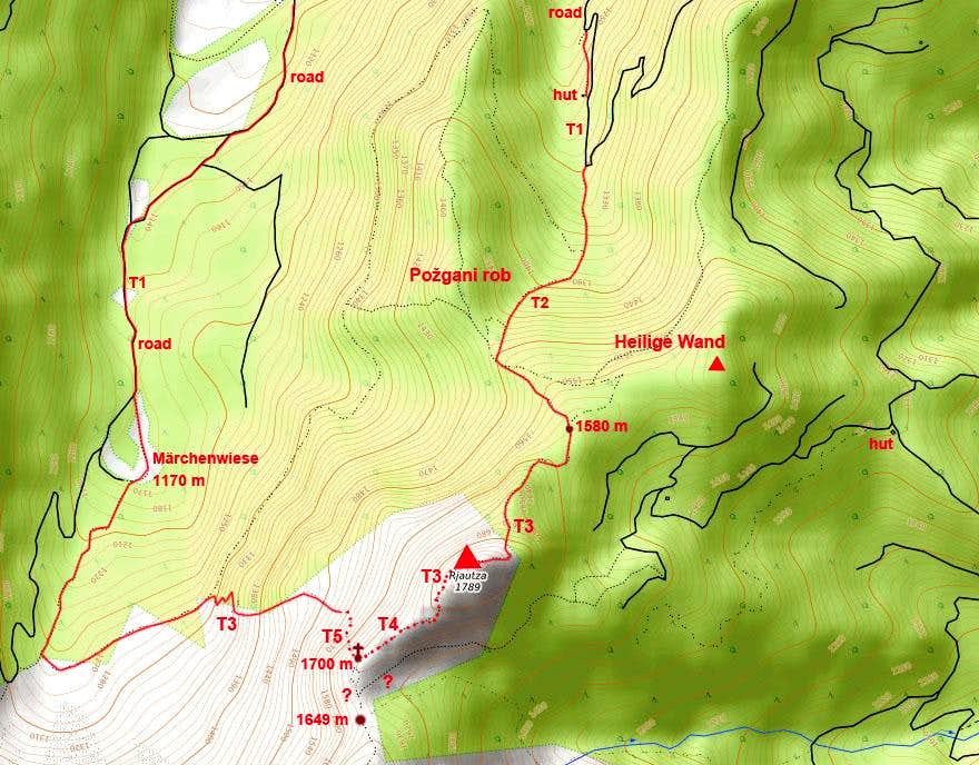 Rjautza / Rjavica and its paths