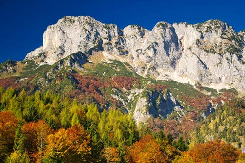 The Untersberg surrounded by blazing autumn colors