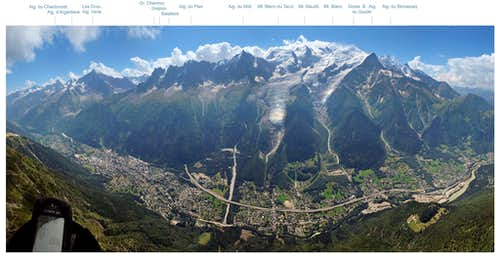 Mont Blanc group and Chamonix valley