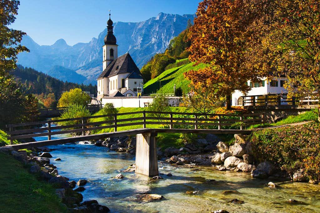 Mountain village Ramsau in autumn