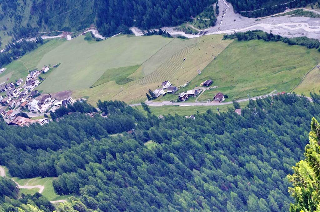 Aerial view of the meadows of Solda/Sulden
