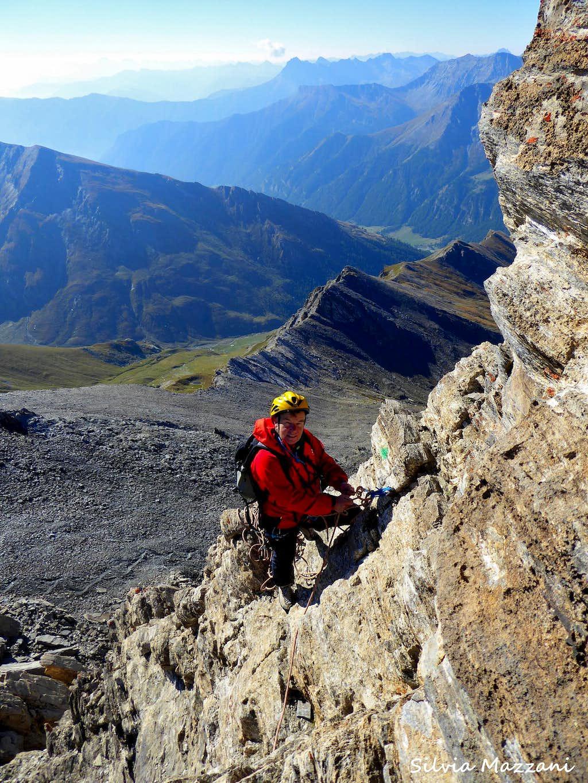 Belaying along Pic d'Asti SE ridge