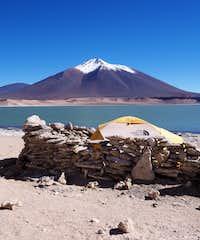 My tent below Volcano Laguna Verde
