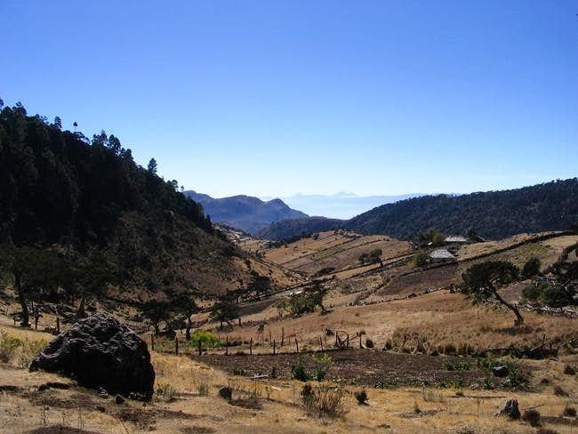 View of Acatenango, Fuego,...