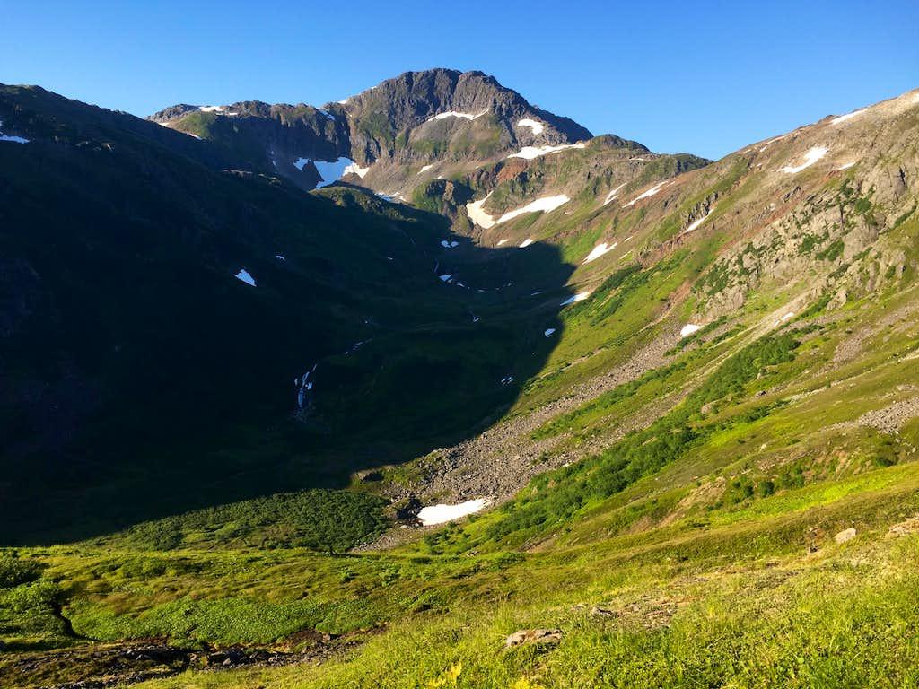 Granite Basin and Granite Creek Trail from the ridge.