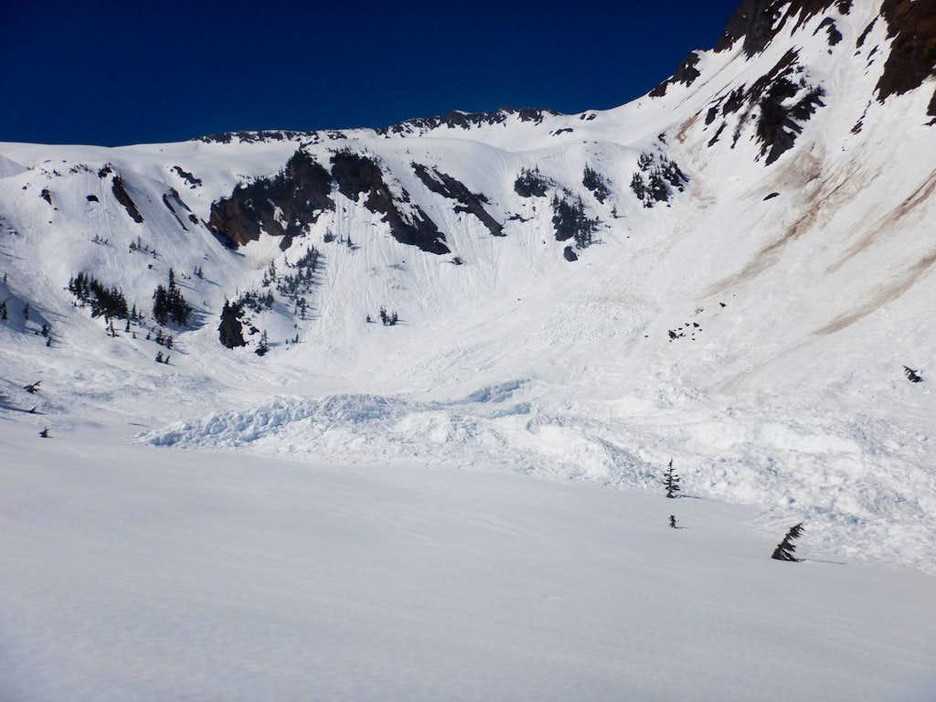 Avalanche debris in the saddle
