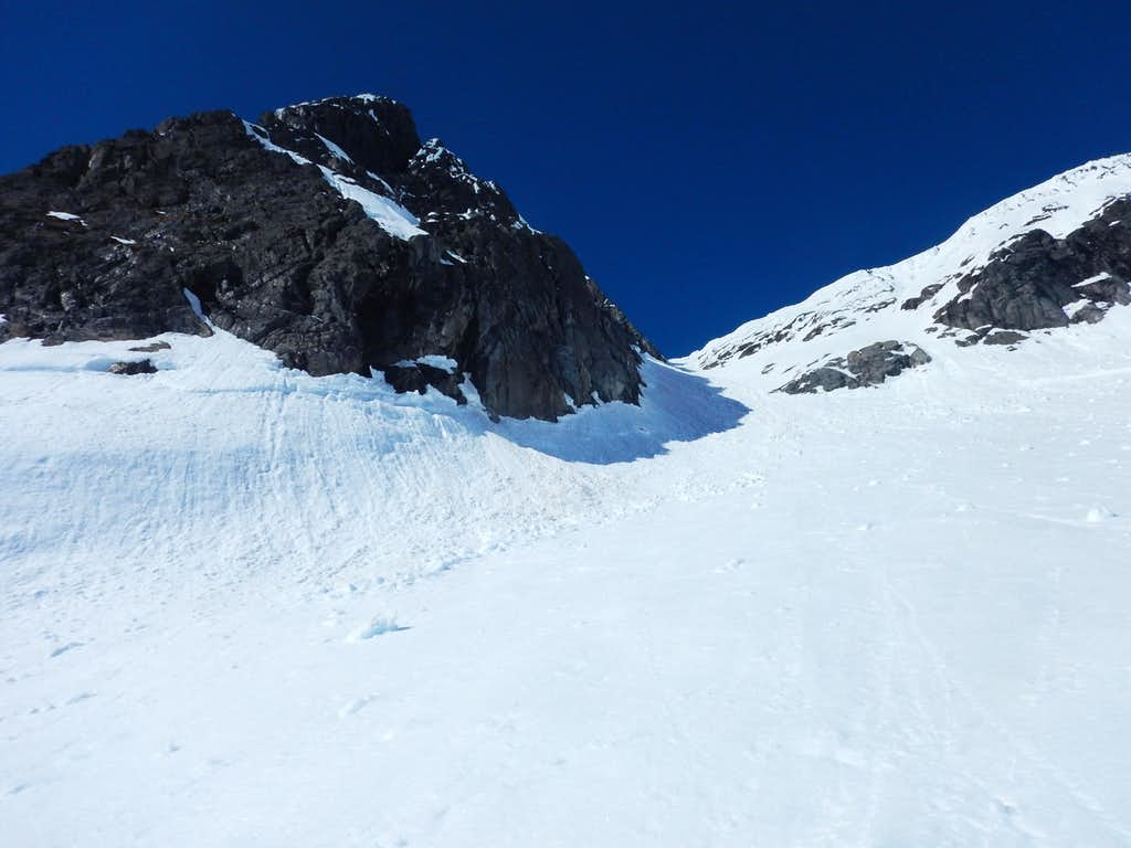 Looking up the Summit Gully