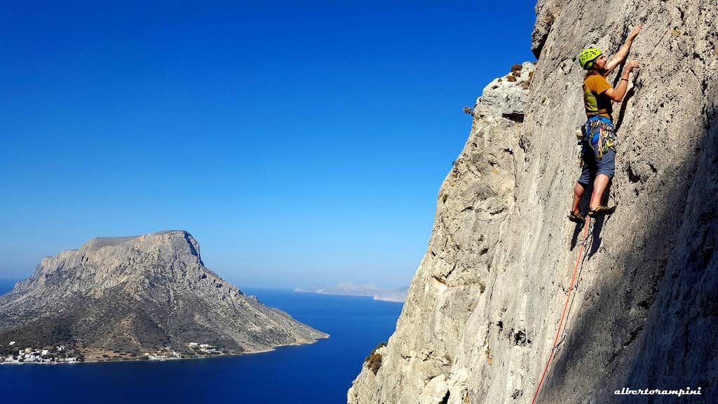 Kalymnos climbing, Trois Ilots - Isle of Telendos on background