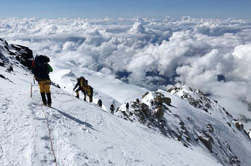 Descent to the 14K camp on Denali