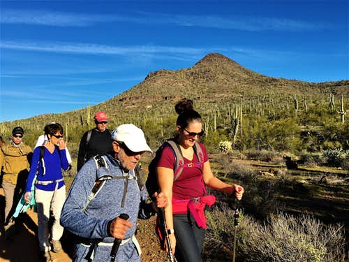 Group hiking on the Maricopa Trail below