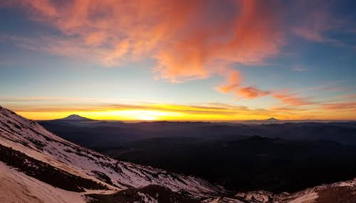 Sunrise over Cascade Volcanoes