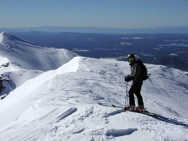 Skiing off the summit