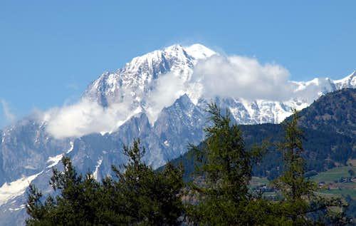 summer 2016 Mont Blanc above Aiguilles Noire & Blanche