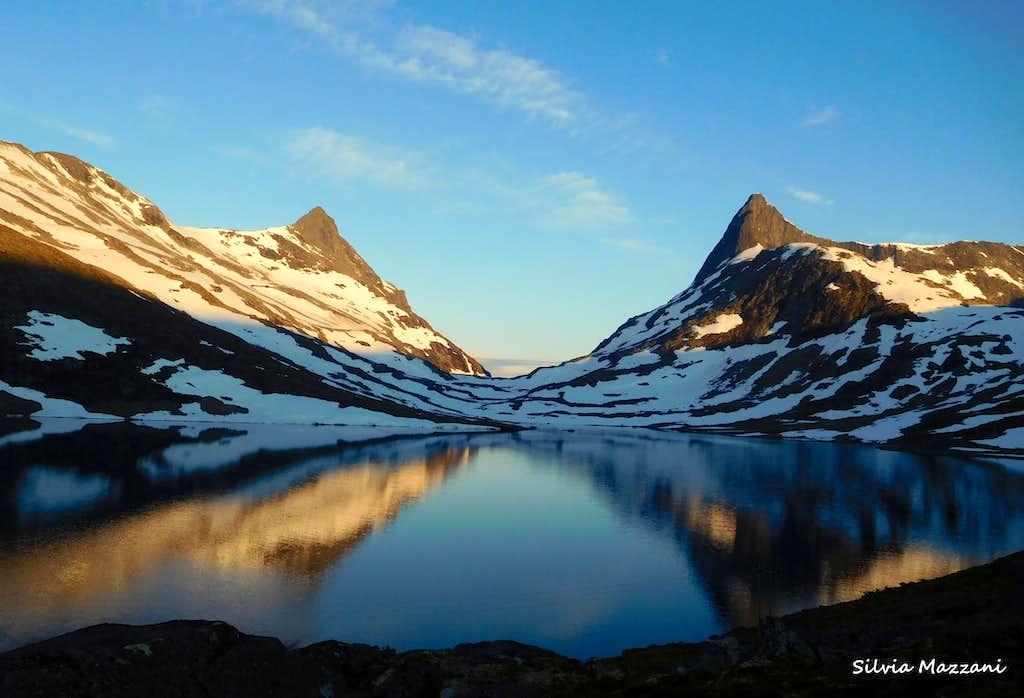 Falketind reflected at sunrise