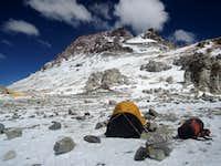 Bivy tent in the wind in Colera camp