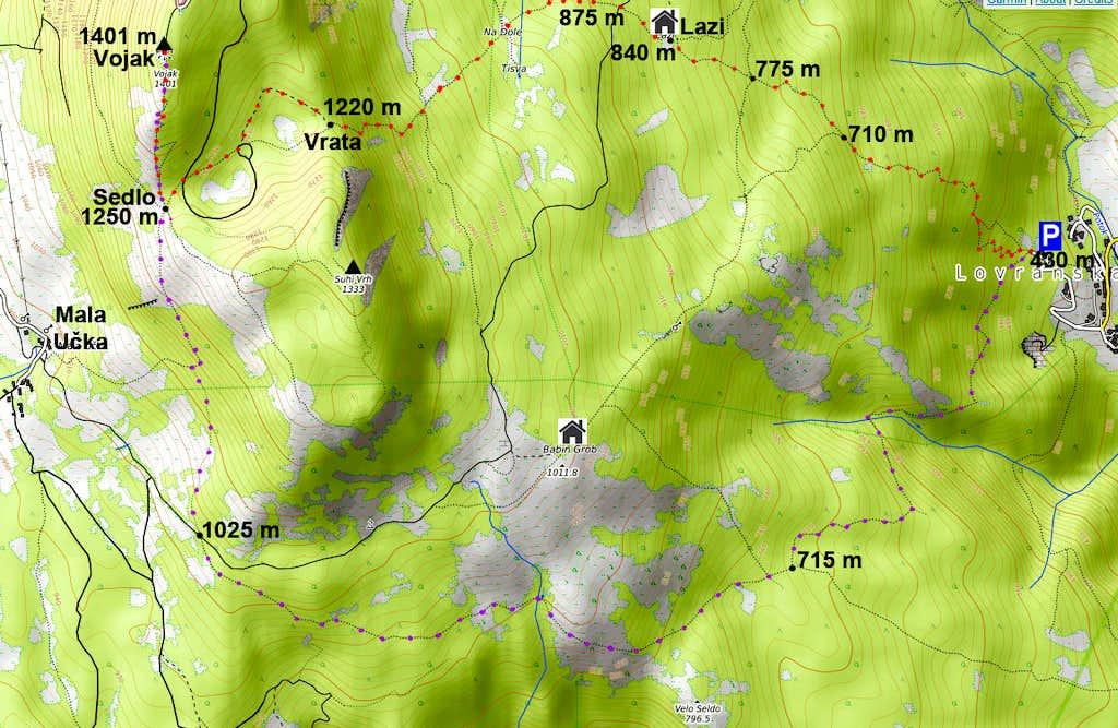 Vojak from Lovranska Draga route map