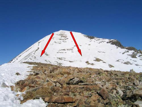 Ski routes on upper Quandary...