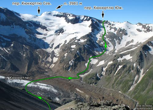 View of route up Kukurtlu South Pass