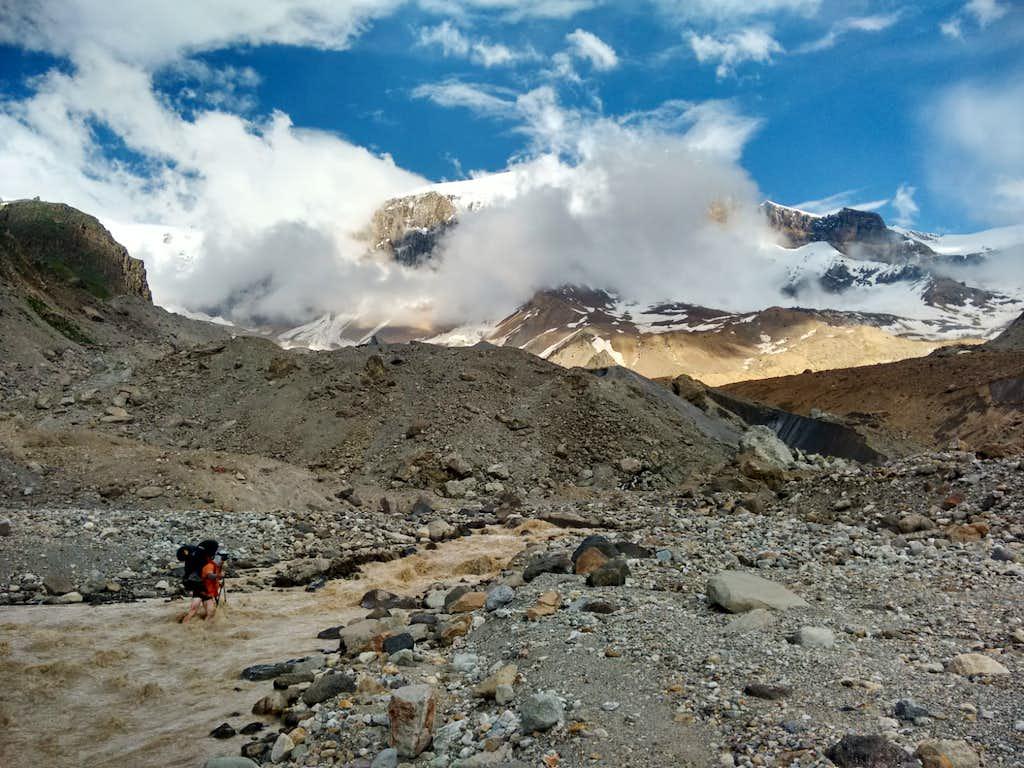 Fording stream below Kukurtlu Glacier