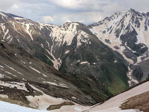 View from EKT Pass down to Ullukam Valley and up to Khotutau Pass at center right