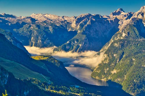Morning view to Steinernes Meer and Königssee lake