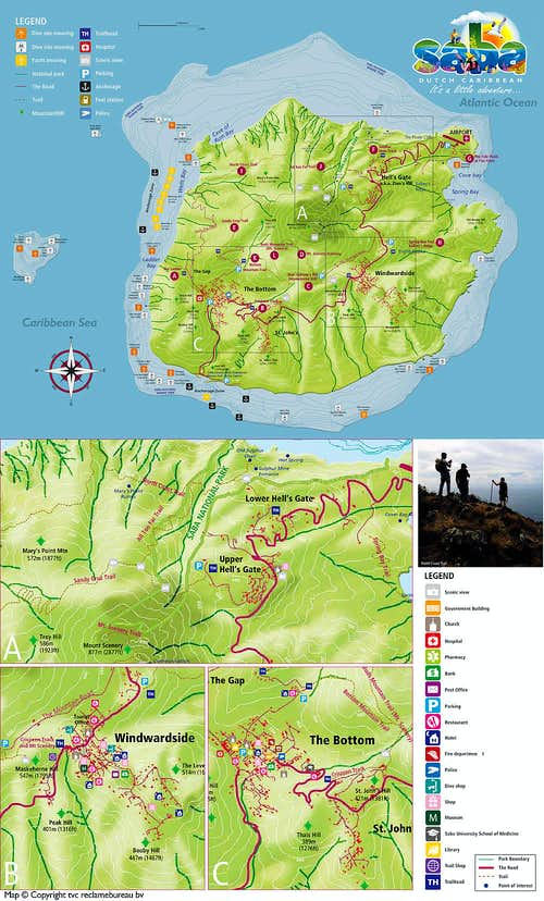 Saba Map including hiking trails.