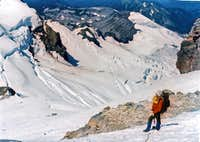 Looking down the Deming Glacier from the Roman Wall on Mt. Baker
