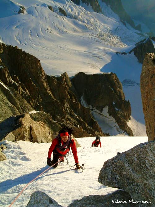 Last snow slopes on Mont Blanc du Tacul standard route