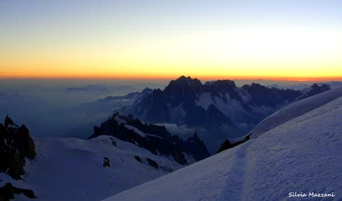 View from Mont Blanc du Tacul before sunrise