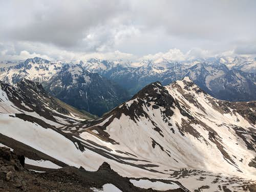 Looking down on Veronika Pass after completing steep traverse from Kukurtlu South Pass
