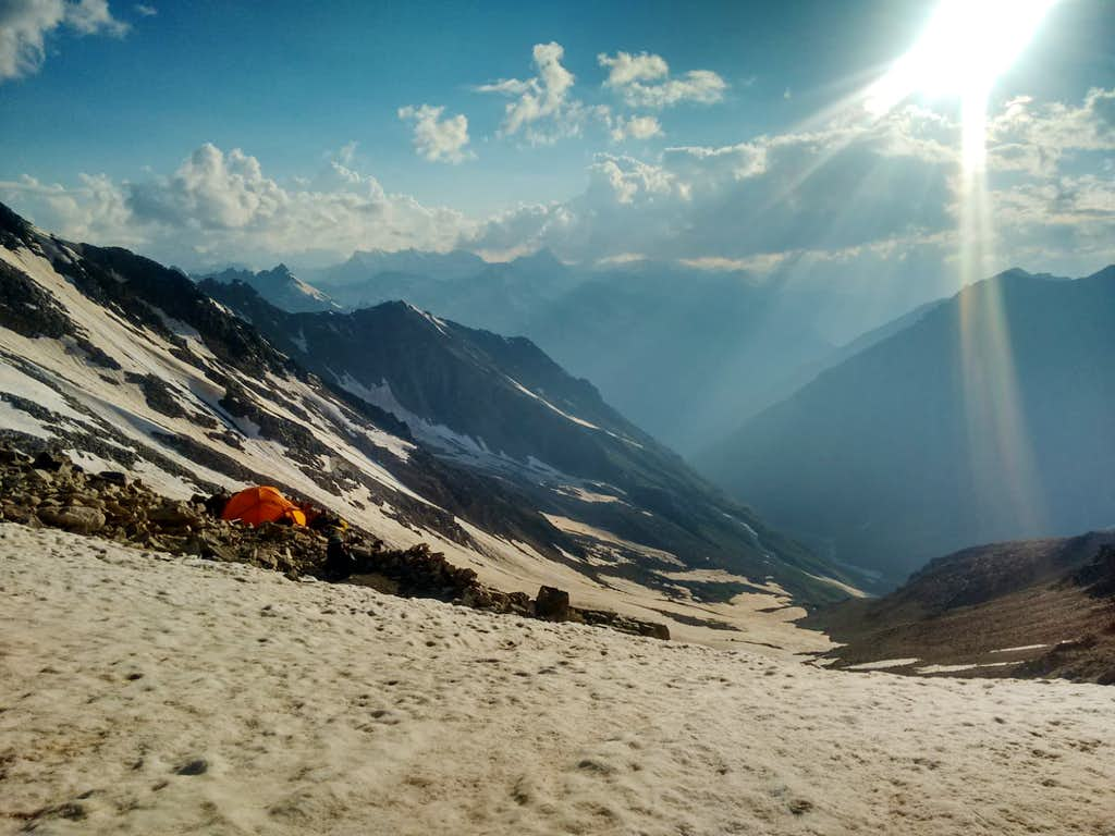 Campsite at top of Khotutau Pass