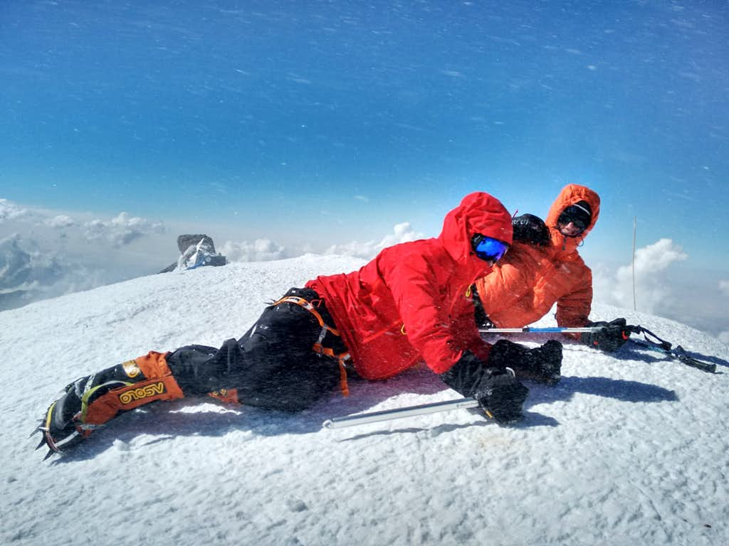 Too windy to stand on Elbrus West Summit!