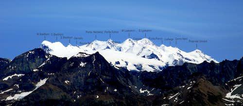 Breithorn - Lyskamm - Monte Rosa range annotated view
