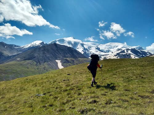 Above Jele Soo West - NW face of Elbrus in sight