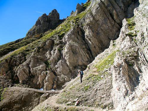 Reither spitze round trip: Descending towards the Ursprungsattel.