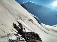 Climbing Glacier N 313 below Kyukyurtlyu Dome