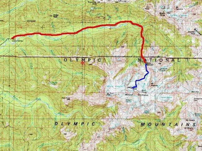 Map showing approach (red)...