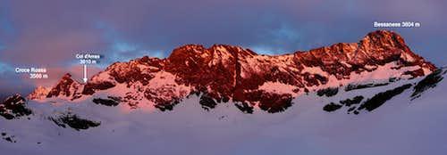 View from Gastaldi hut at sunrise