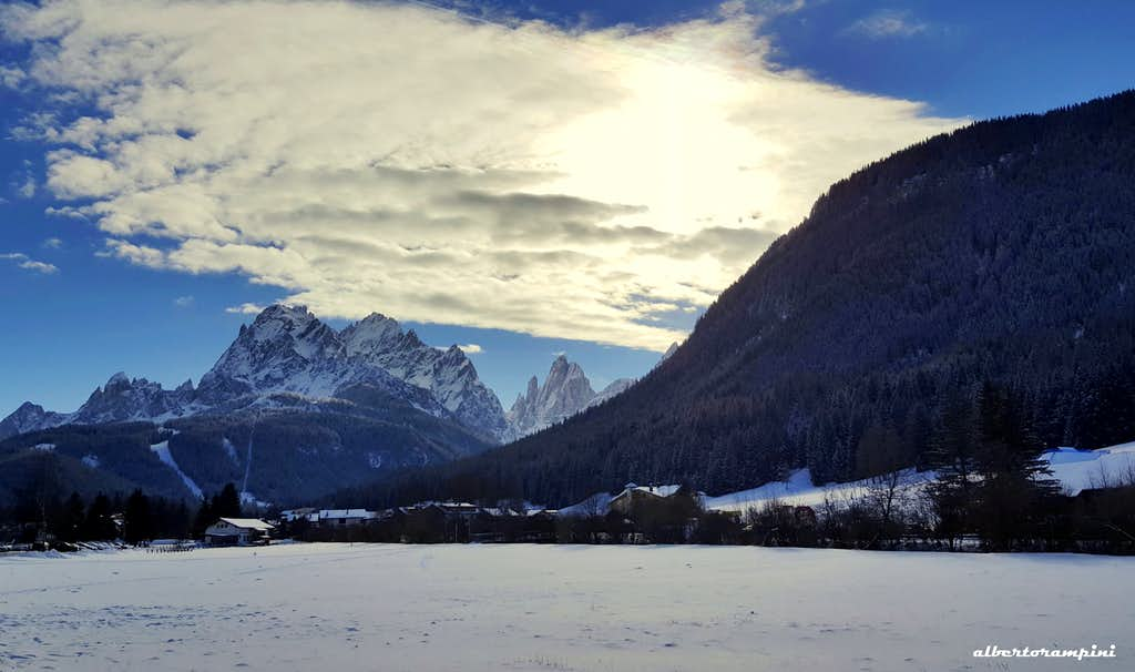 Croda dei Toni and Dolomiti di Sesto in the winter light
