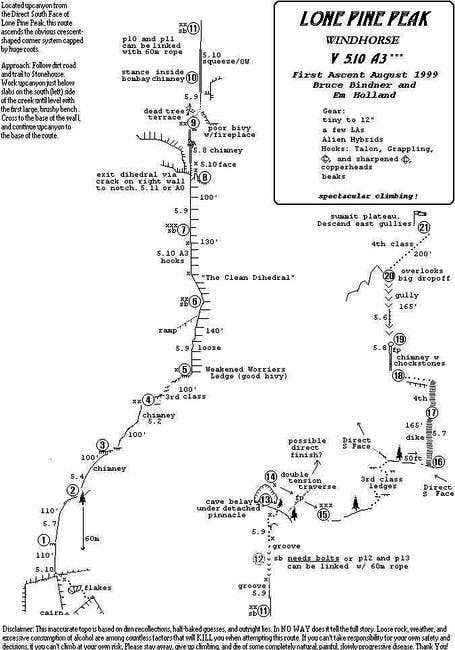 S. Face Lone Pine Peak - Windhorse