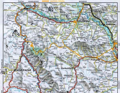 Map of Kopaonik massif and...