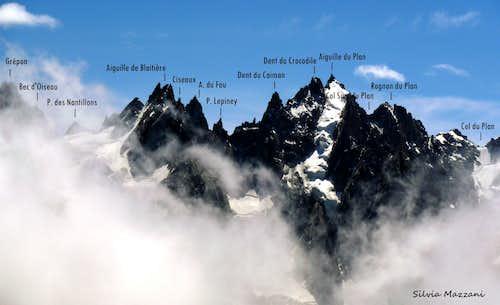 Aiguilles de Chamonix labelled panorama from Aiguilles Rouges