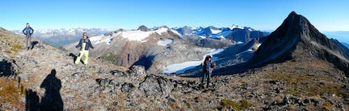Pano looking SE down the summit ridge and Antler drainage
