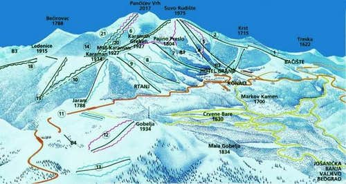 Map of Kopaonik massif ....
