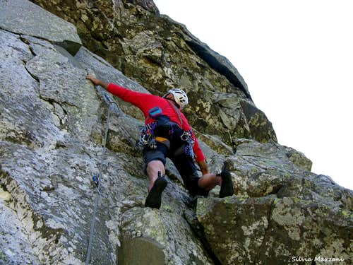 Rock climbing on Monte Scala West face