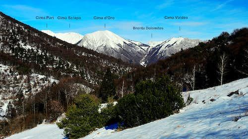 Alpi di Ledro annotated panorama from Prati di Guil