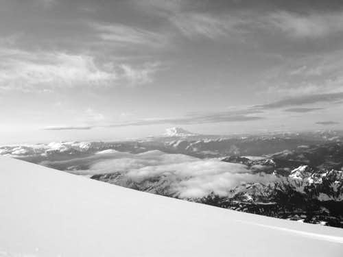 B&W picture of Mt. Adams, day...