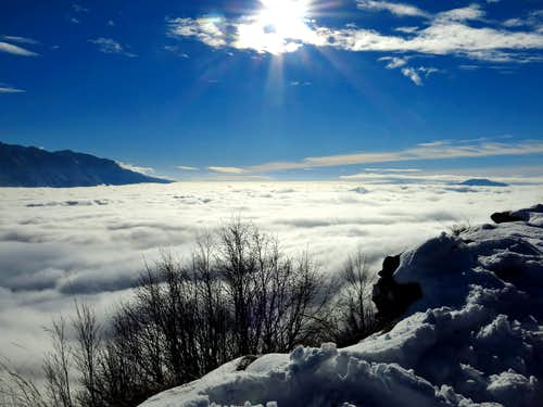 Sea of clouds from Cima Guil