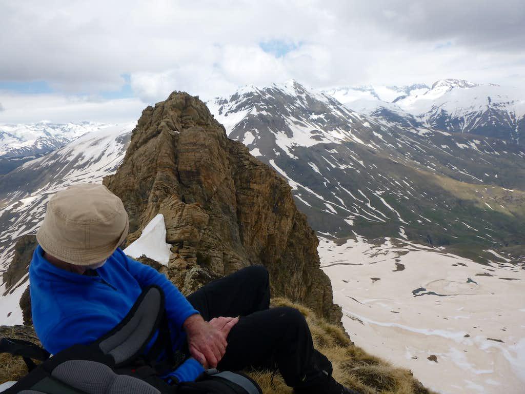 14 - resting on a rocky ridge